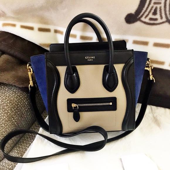 Celine Handbags - Authentic Celine Limited Ed. Tricolor Luggage Nano ec28166d104d9